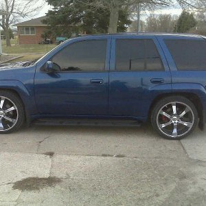 Side View of Trailblazer SS after TSB rock chip repair, splash guards, and